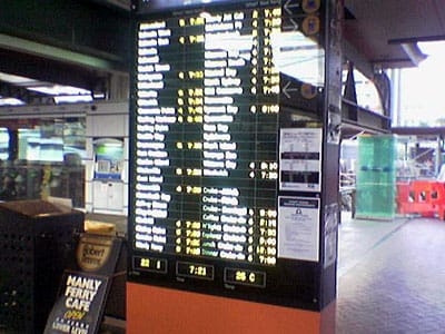 The ferry departures board at the Circular Quay wharves