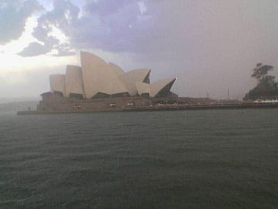 Sydney Opera House in the rain, taken from the Manly Ferry