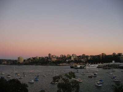 Dawn sky over Manly Wharf