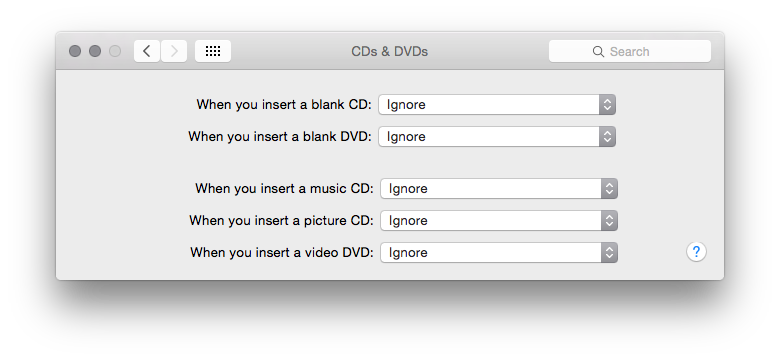 CDs & DVDs System Preference